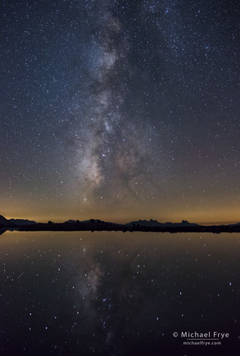 Milky Way reflected in an alpine lake, Yosemite NP, CA, USA
