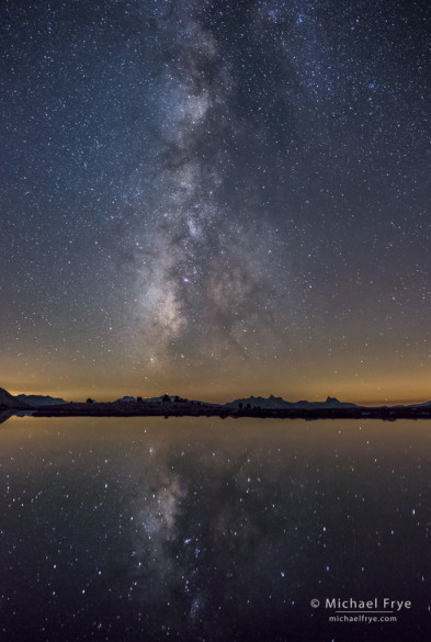 Milky Way reflected in an alpine lake, Yosemite NP, CA, USA
