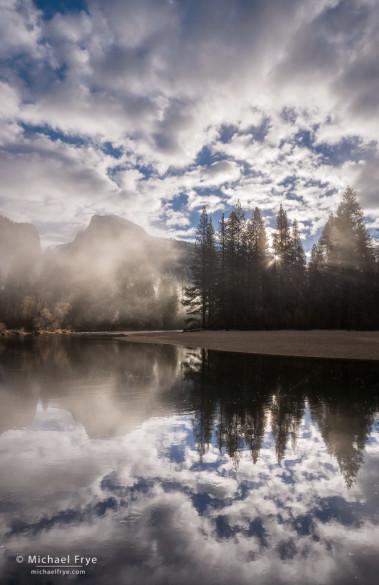 Misty sunrise, Half Dome, Merced River, and clouds, Yosemite NP, CA, USA