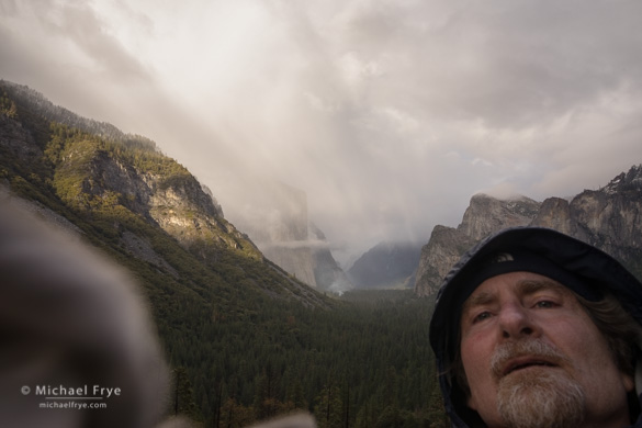 Self-portrait while cleaning my lens, Tunnel View, Yosemite NP, CA, USA