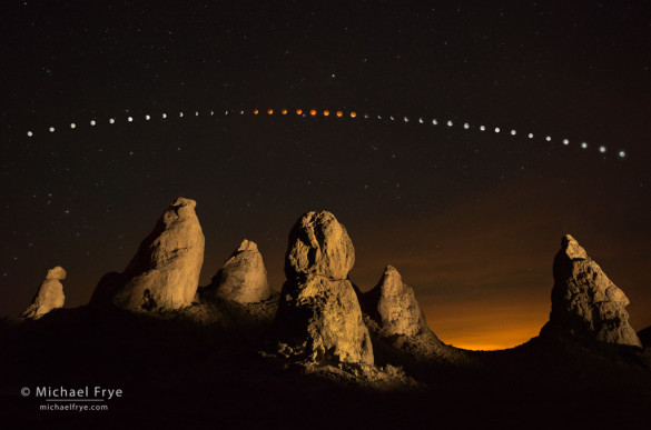 Lunar eclipse sequence, April 14th and 15th, Trona Pinnacles, CA, USA
