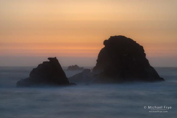 Sea stacks at sunset, Crescent City, CA, USA