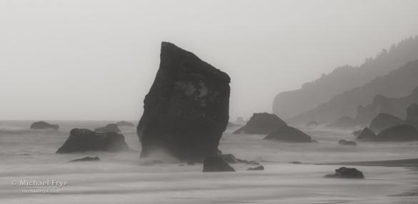 Sea stacks and mist, Redwood NP, CA, USA