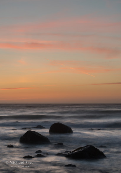 Rocks and the Pacific ocean at sunset, Redwood NP, CA, USA