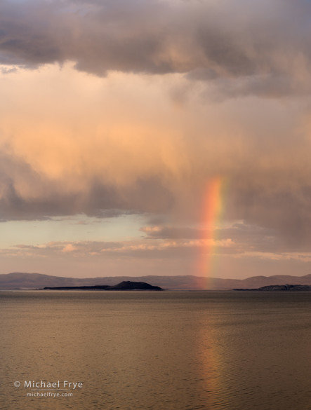 Rainbow over Mono Lake and Negit Island at sunset, CA, USA