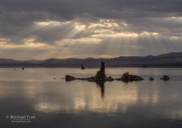 Sunbeams and tufa towers, Mono Lake, CA, USA