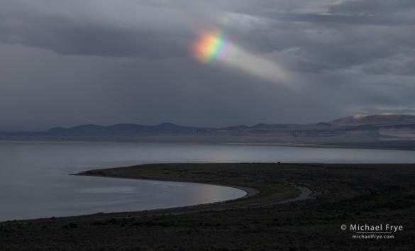 Rainbow and sunbeam over Mono Lake, CA, USA