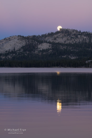 Moon setting over Tenaya Lake, Yosemite NP, CA, USA