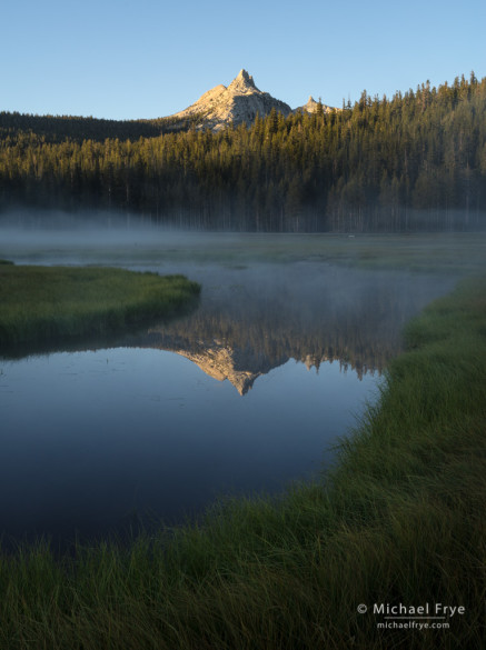 Unicorn Peak reflected in a pond at sunrise, Tuolumne Meadows, Yosemite NP, CA, USA