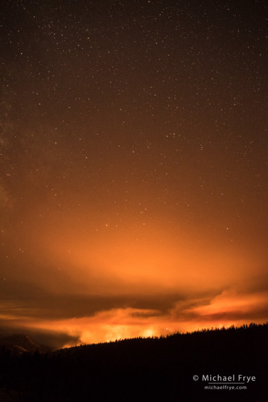 Dark Hole Fire, Yosemite Creek Drainage, Yosemite NP, CA, USA; 10:58 p.m.,7/26/14