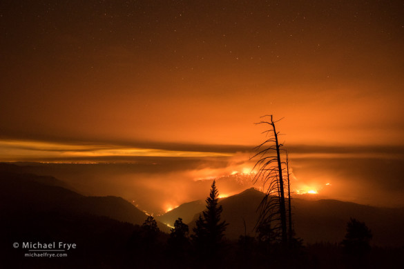 El Portal Fire, Yosemite NP and Stanislaus NF, CA, USA; 1:51 a.m., 7/27/14