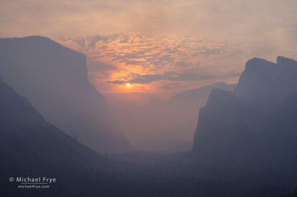 Sun rising through smoke from the El Portal Fire, 7/28/14, Yosemite NP, CA, USA