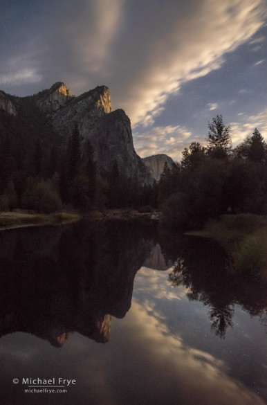 Three Brothers with moonlit clouds and reflections, Yosemite NP, CA, USA
