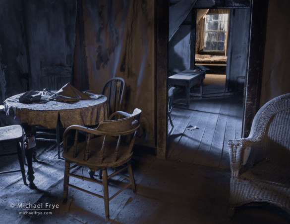 Interior at night, Bodie SHP, CA, USA