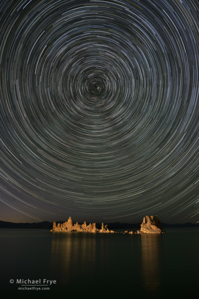 Tufa and star trails, Mono Lake, CA, USA