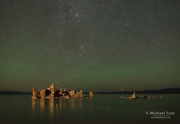 Tufa and stars at night with green airglow, Mono Lake, CA, USA