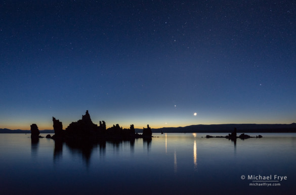 Venus, Jupiter, and the Moon rising at dawn, Mono Lake, CA, USA