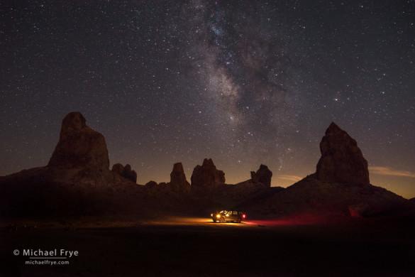 Vehicle among the pinnacles at night, Trona Pinnacles National Natural Landmark, CA, USA