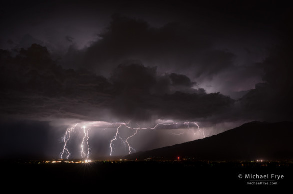 Lightning over Bishop and the Owens Valley, CA, USA