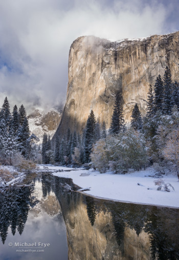 El Capitan and the Merced River after an autumn snowstorm, Yosemite NP, CA, USA