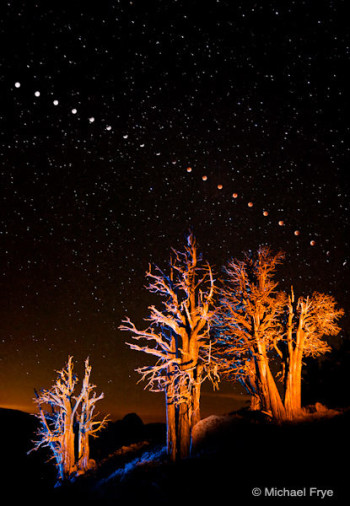 Lunar Eclipse Sequence, 1:23 a.m. to 4:49 a.m., August 28, 2007, Yosemite National Park, California