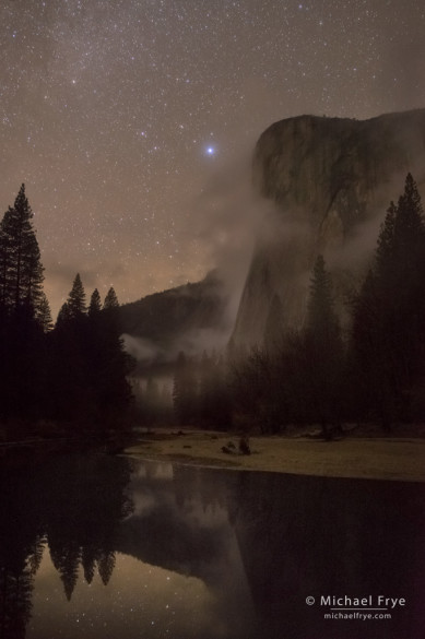 El Capitan and the Merced River at night, with Vega (bright star) and the Lyra constellation, Yosemite NP, CA, USA