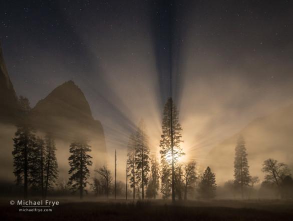 Moon setting on a misty night, El Capitan Meadow, Yosemite NP, CA, USA