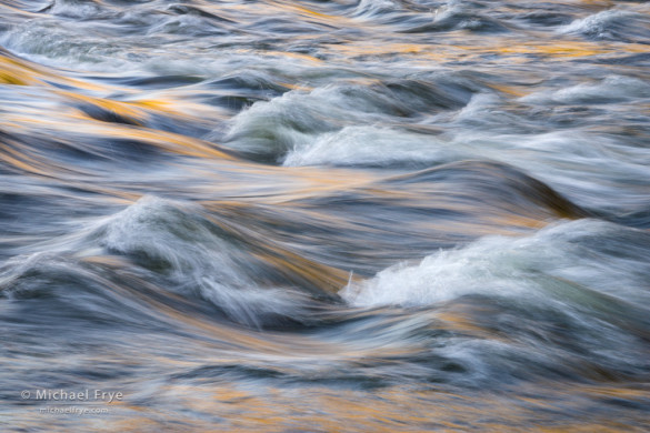 Reflections the Merced River rapids, Yosemite NP, CA, USA