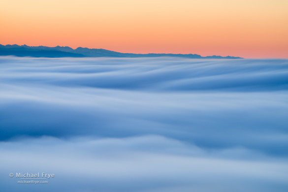 Fog and southern Sierra peaks from Mt. Bullion at sunrise, Mariposa County, CA, USA