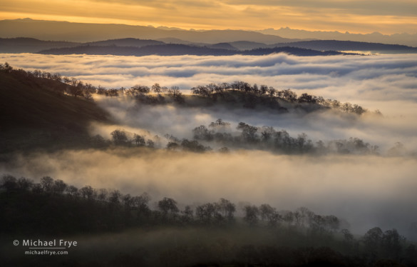Foothill ridges rising above the fog with southern Sierra Nevada peaks in the distance, Mariposa County, CA, USA