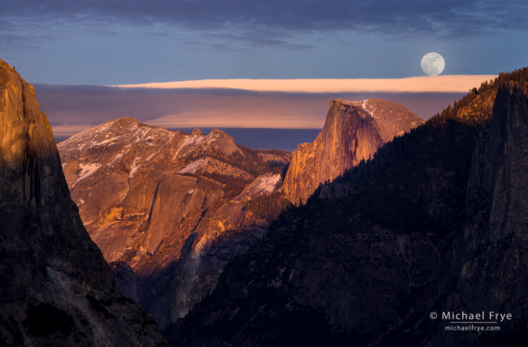 Moon rising above Half Dome from Tunnel View, Yosemite NP, CA, USA