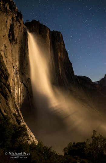 Upper Yosemite Fall illuminated by the rising moon, Yosemite NP, CA, USA