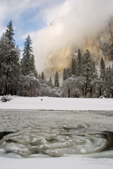 El Capitan with ice patterns in the Merced River, Yosemite NP, CA, USA