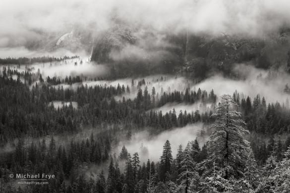 Mist and snow with Bridalveil Fall, Yosemite NP, CA, USA