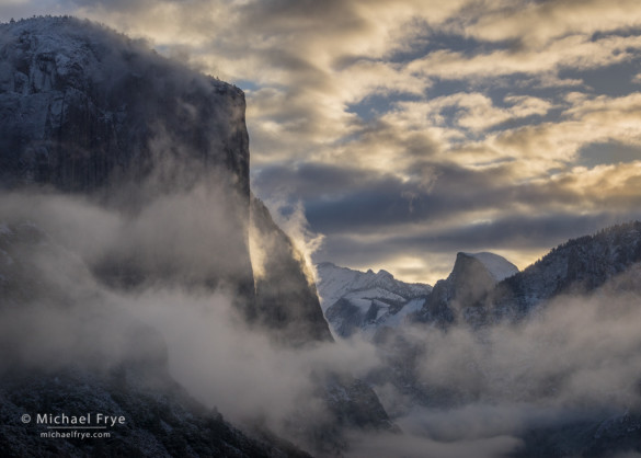 Sunrise from Tunnel View after a spring snowstorm, Yosemite NP, CA, USA