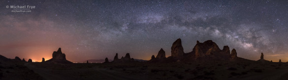 Panorama Merge: Trona Pinnacles and the Milky Way, Trona Pinnacles National Natural Landmark, CA, USA