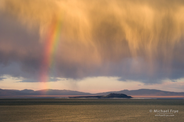 Rainbow and virga over Negit Island at sunset, Mono Lake, California, USA