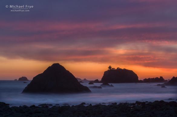 Sea stacks at sunset, near Crescent City, CA, USA