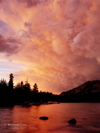 Sunset clouds over Tenaya Lake, Yosemite NP, CA, USA