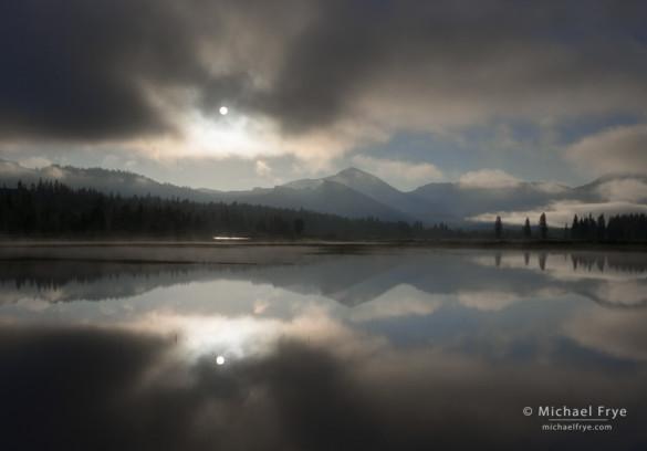 Sun breaking through Mist, Tuolumne Meadows, Yosemite NP, CA, USA