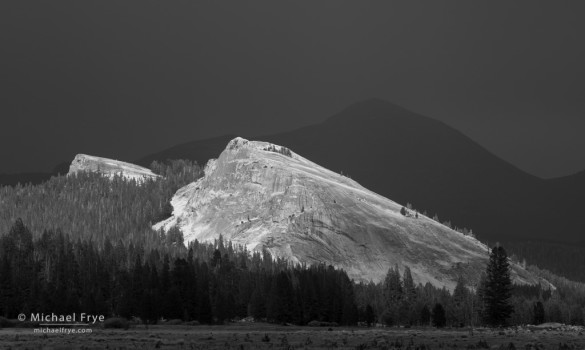 Sunlight on Lembert Dome, with Mt. Dana in the background, Tuolumne Meadows, Yosemite NP, CA, USA
