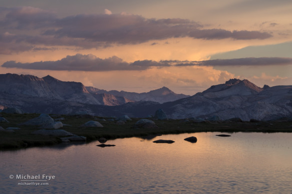 Peaks, clouds, and an alpine tarn, Yosemite NP, CA, USA