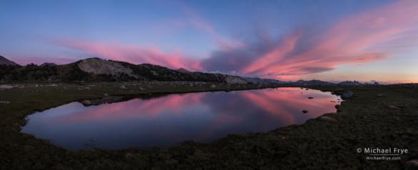 Sunset at a small alpine tarn, Yosemite NP, CA, USA