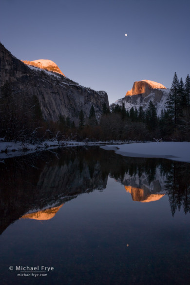 Half Dome and moon reflected in the Merced River, Yosemite NP, CA, USA