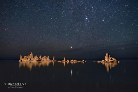 Tufa and stars (with Perseus and the Pleiades), Mono Lake, CA, USA