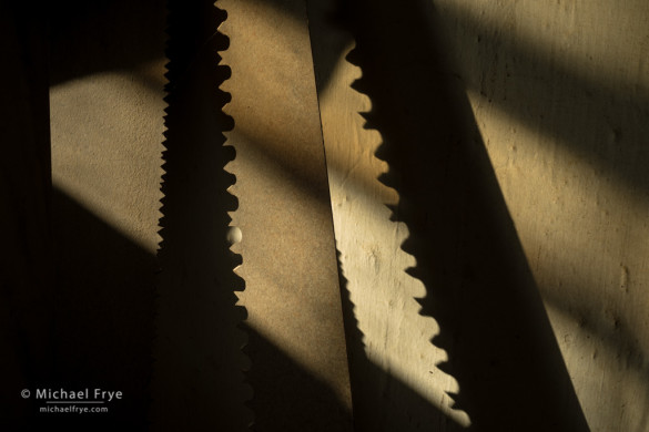 Saw blades and shadows, Boone General Store, Bodie State Historic Park, CA, USA