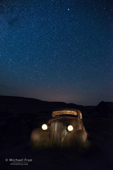 1937 Chevy at night, Bodie State Historic Park, CA, USA