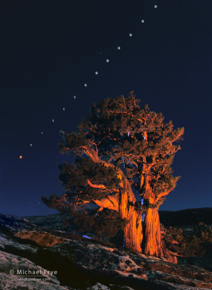 Lunar eclipse sequence, September 26, 1996, Yosemite NP, CA, USA