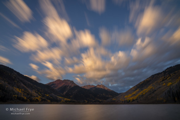Fast-moving clouds at sunrise, Crystal Lake, Uncompahgre NF, CO, USA