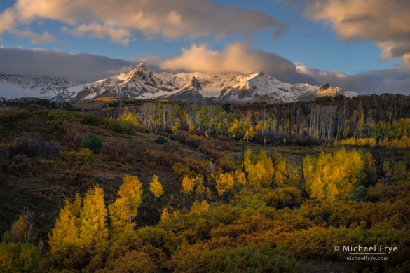 Autumn sunrise over the Sneffels Range from the Dallas Divide, CO, USA